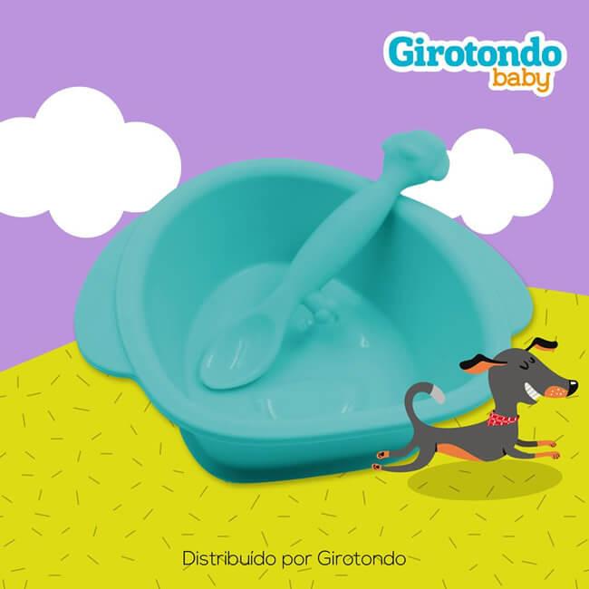 dc52d46cf Tigela com ventosa e Colher Cachorro em Silicone - Girotondo Baby ...